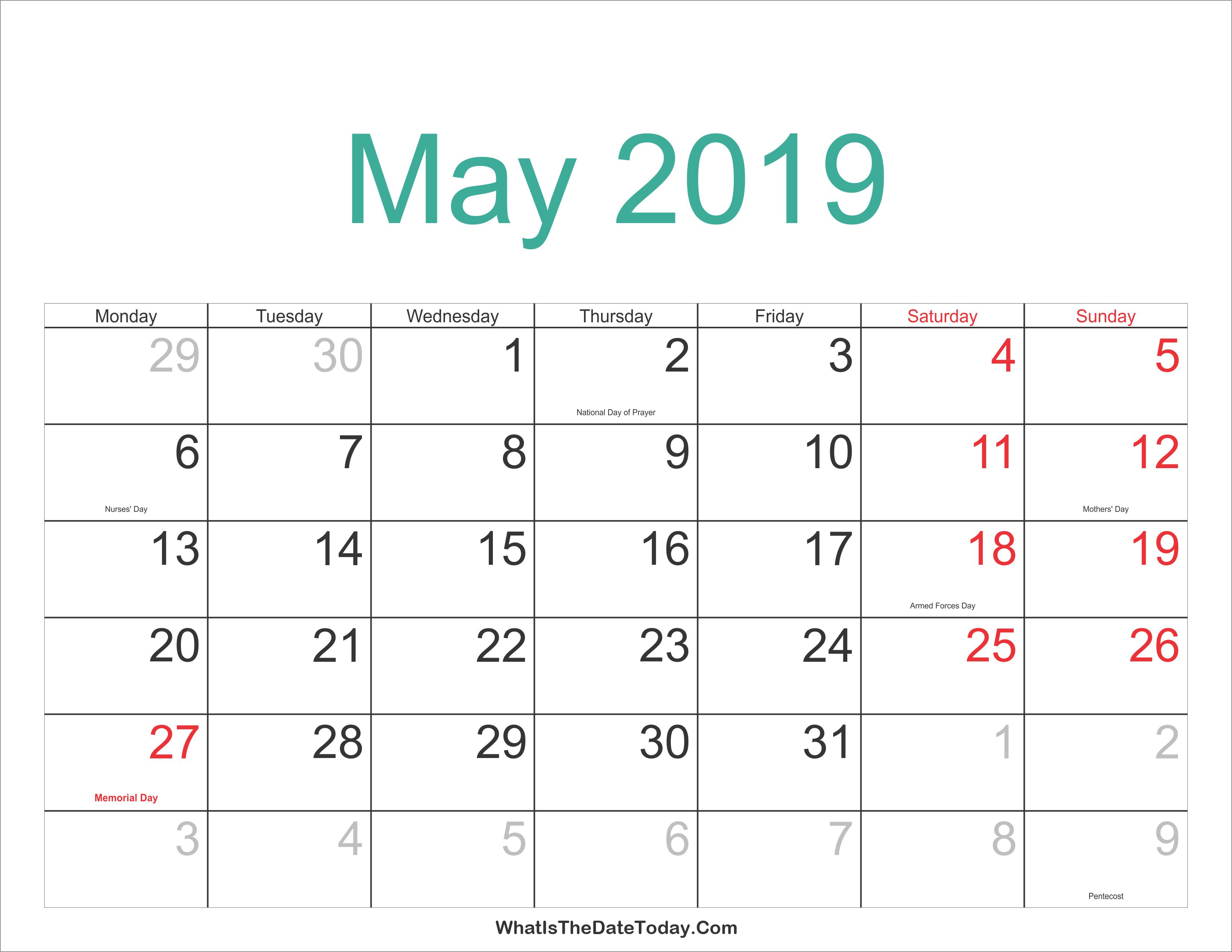 May 2019 Calendar With Holidays - Free Printable Calendar, Templates May 2 2019 Calendar