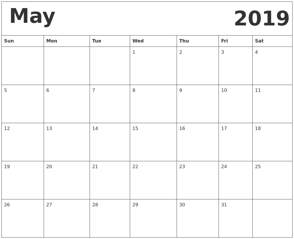 May 2019 Calendar With Holidays Usa, Australia, Canada - Free Calendar 2019 Australia