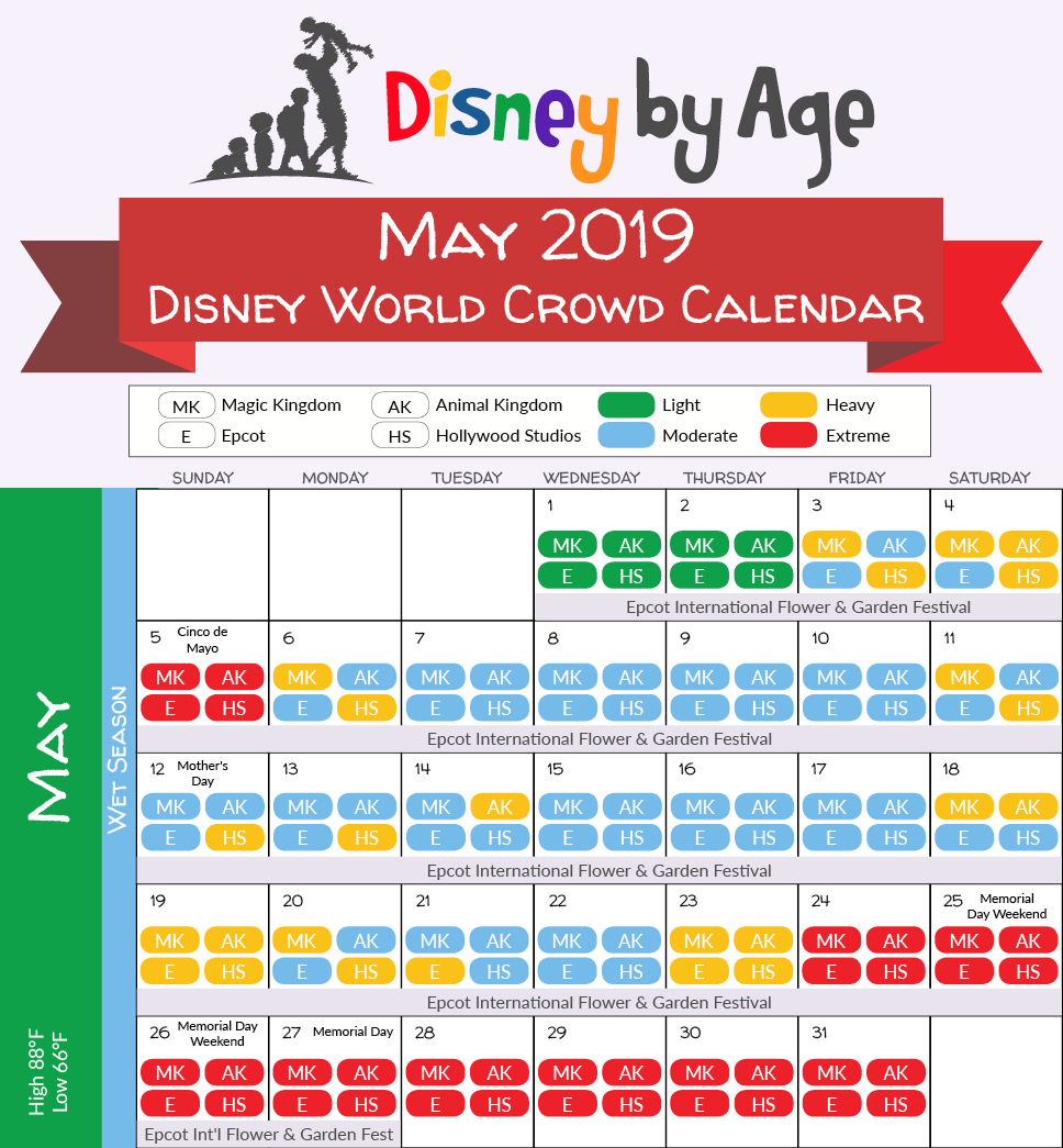 May 2019 Disney World Crowd Calendar | Disney Vacation In 2019 Calendar 2019 Disney
