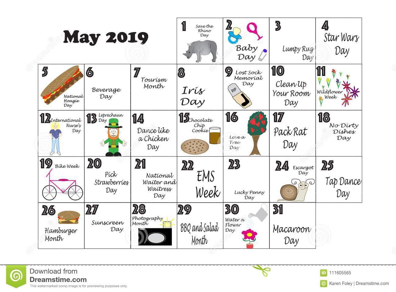 May 2019 Quirky Holidays And Unusual Events Stock Illustration Calendar 2019 Of Events