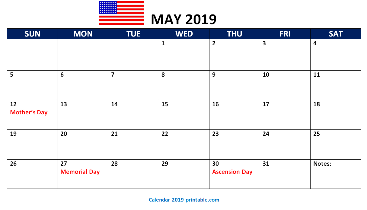 May 2019 Us Printable Calendar | 2019 Calendars | Calendar 2019 Calendar 2019 Memorial Day
