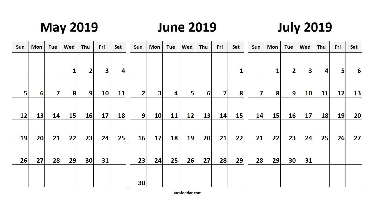 May June July 2019 Calendar Template | 2019 Calendars | 2019 Calendar 2019 June July