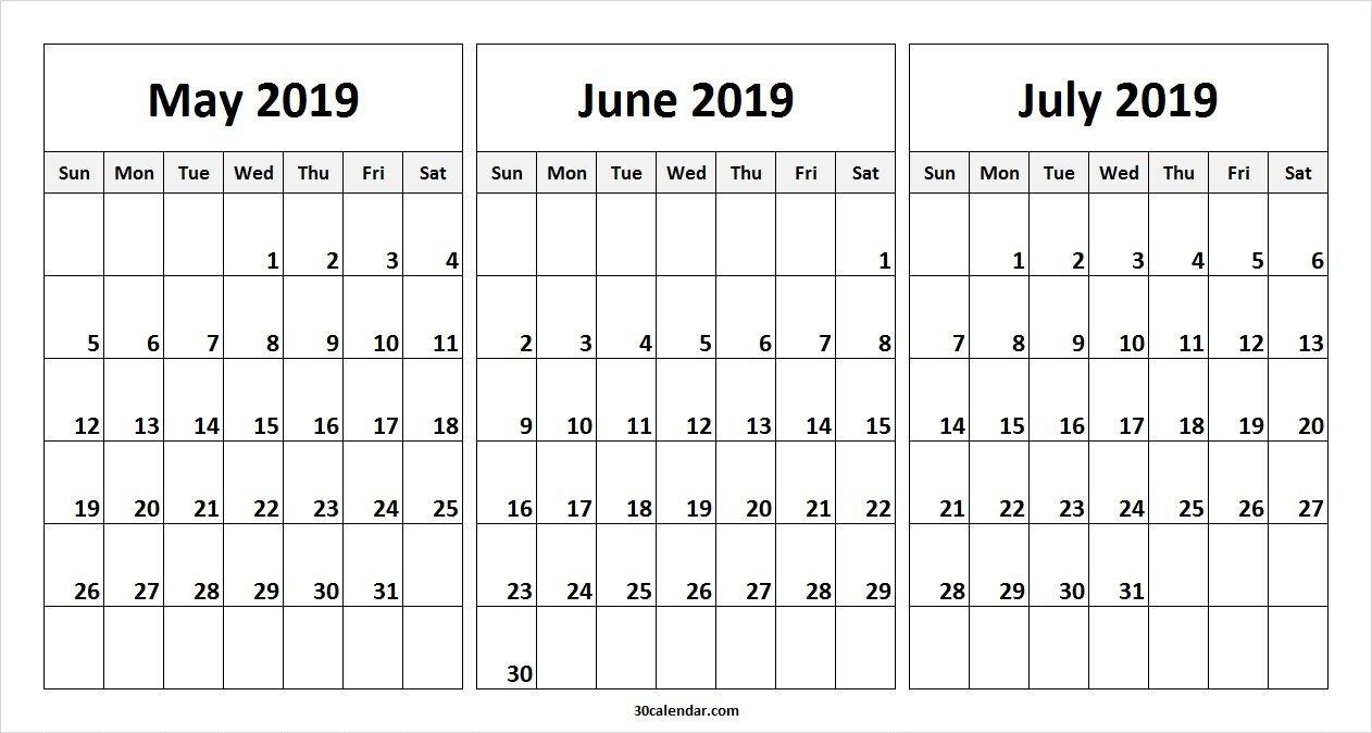 May June July 2019 Calendar Template | 2019 Calendars | 2019 July 3 2019 Calendar