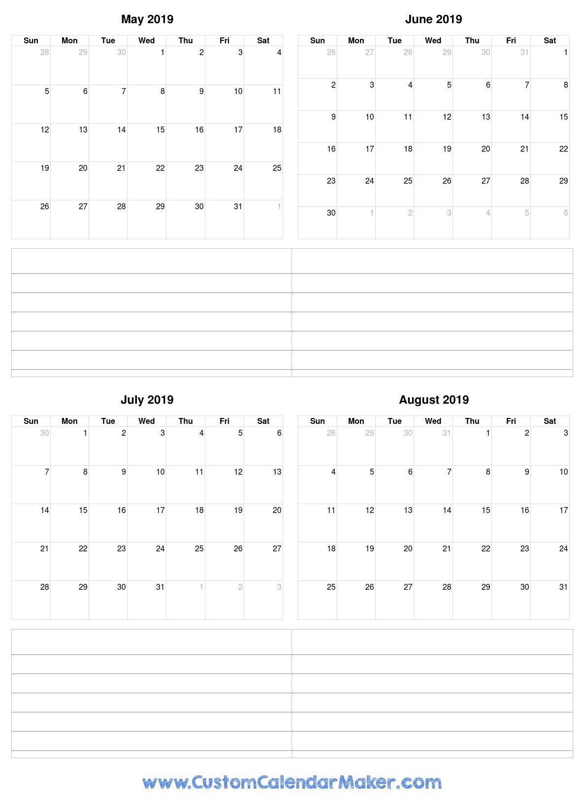 May To August 2019 Calendar August 1 2019 Calendar