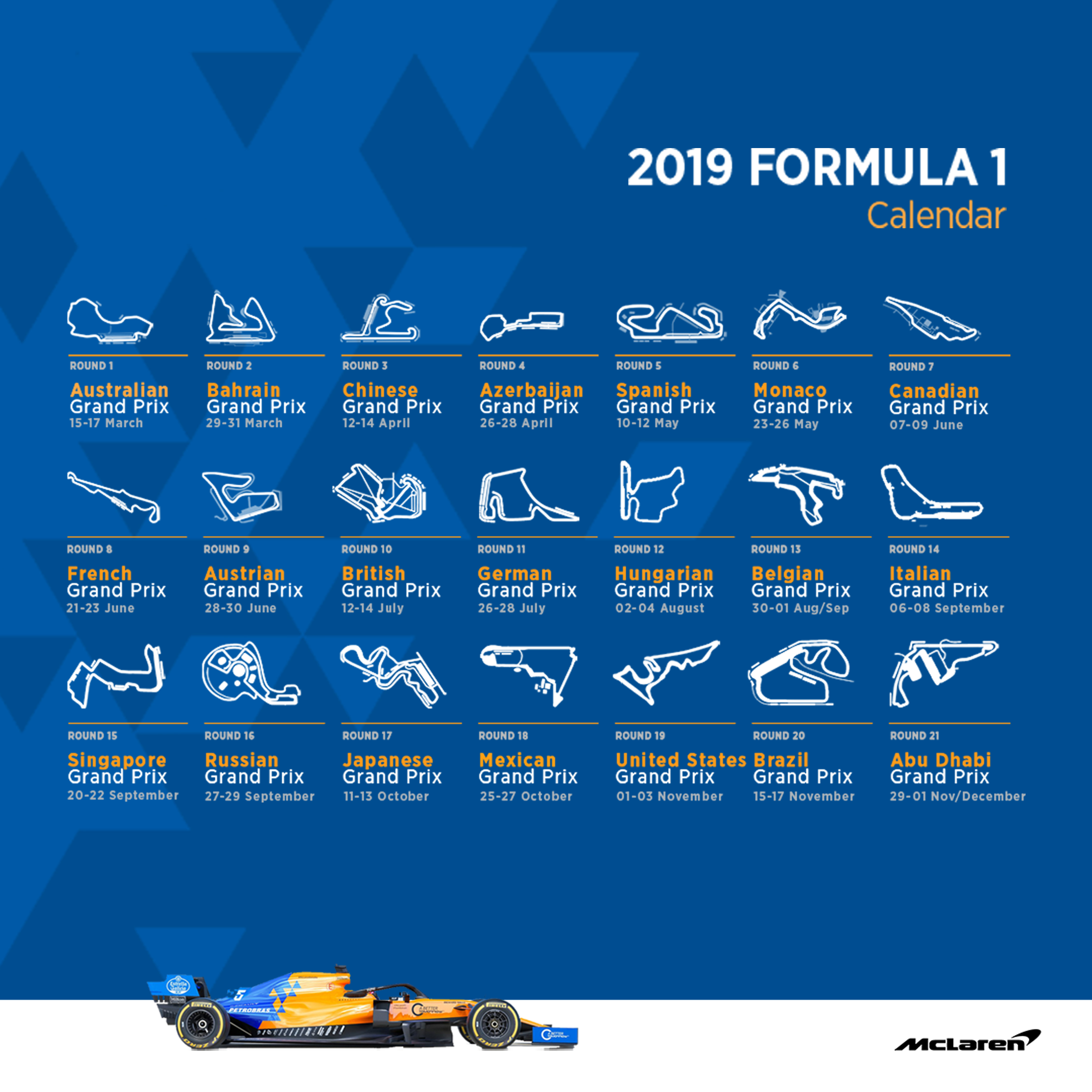 Mclaren Racing – Official Website Formula 1 Calendar 2019 Download