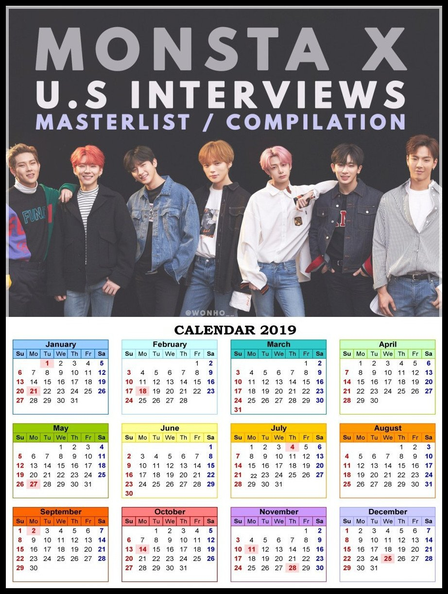 Monsta X Posters K Pop Wall Stickers White Coated Paper Prints High Monsta X Calendar 2019