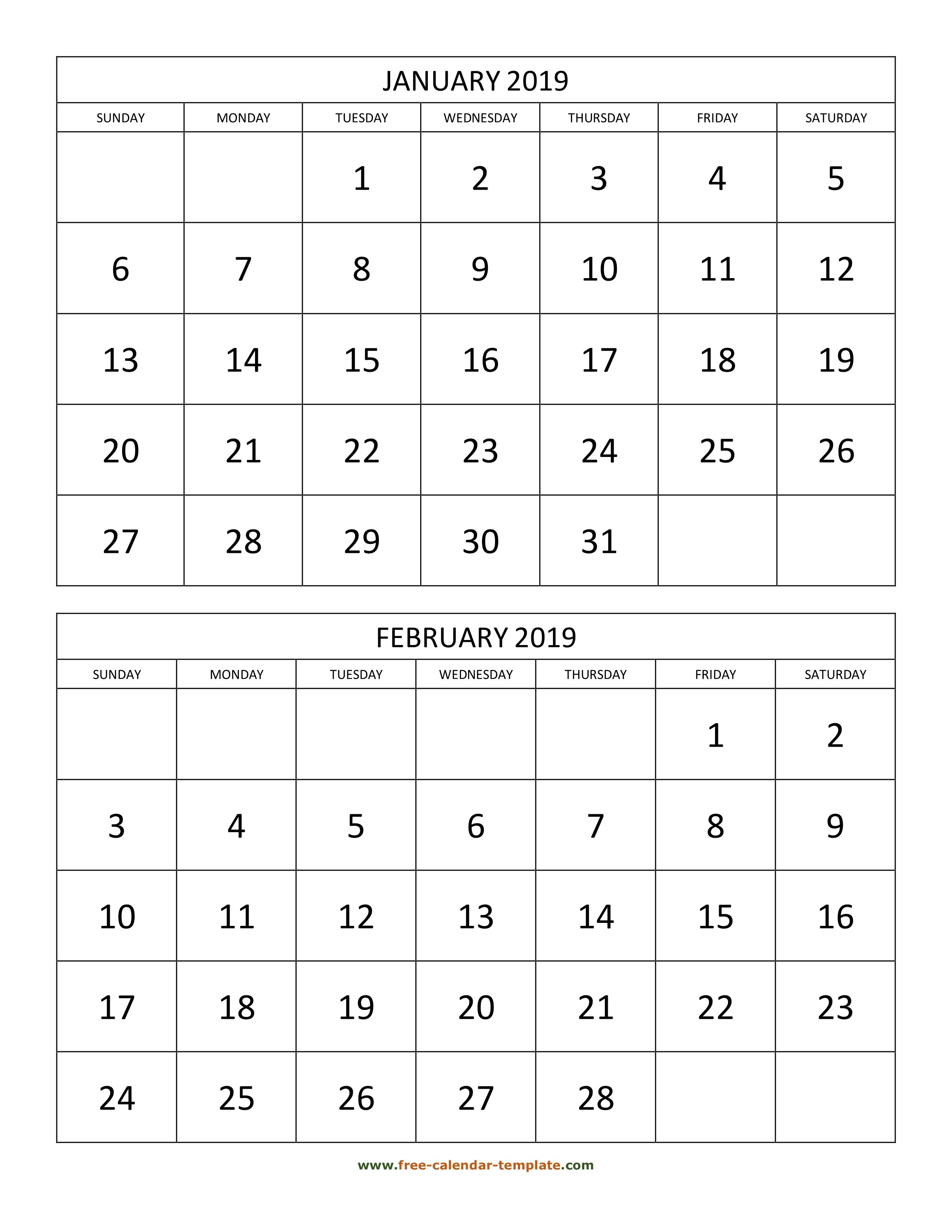 Monthly Calendar 2019, 2 Months Per Page (Vertical) | Free-Calendar Calendar 2019 2 Months Per Page