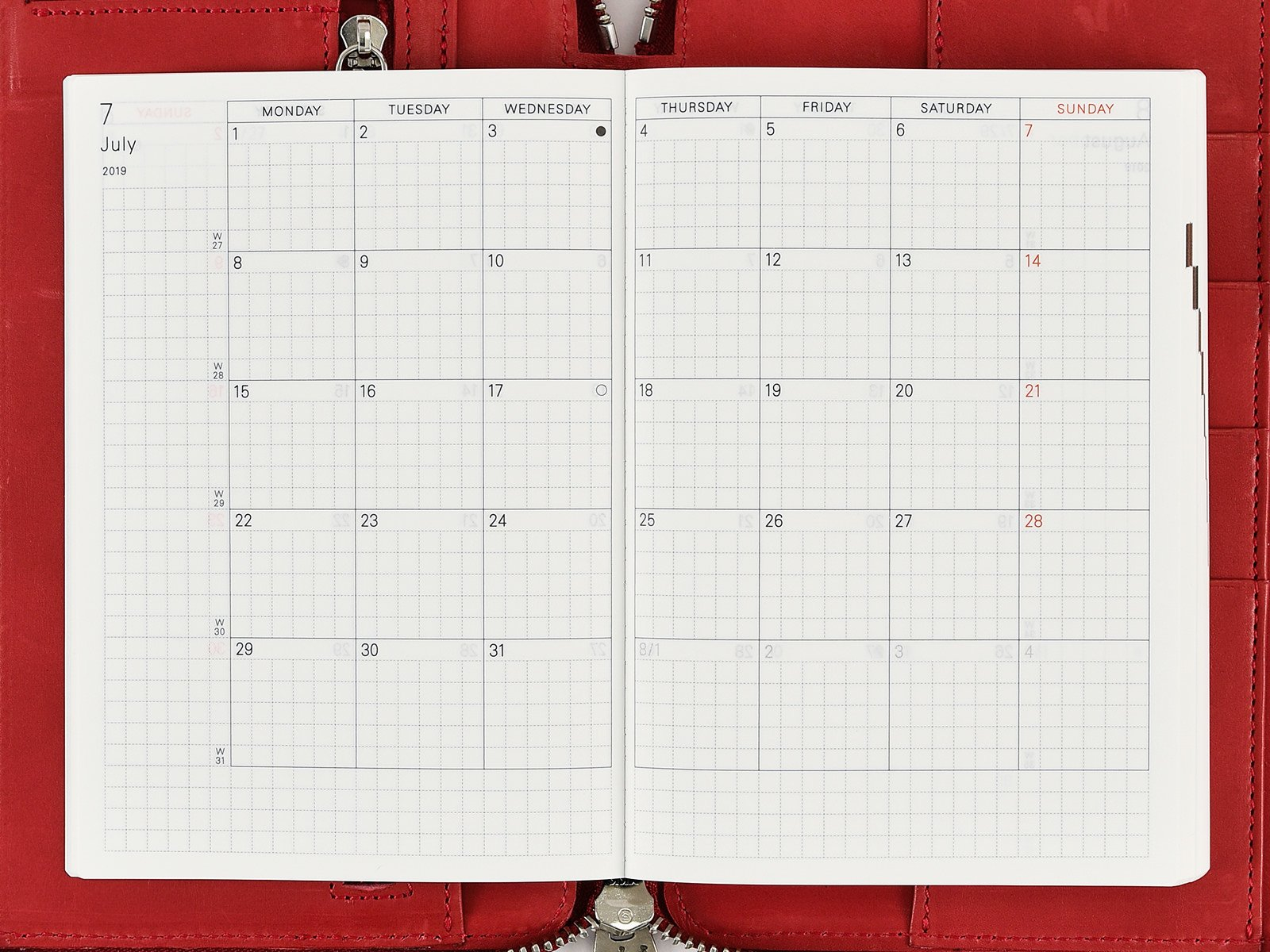 Monthly Calendar - Hobonichi Techo Planner - Book Buying Guide Calendar 2019 Book