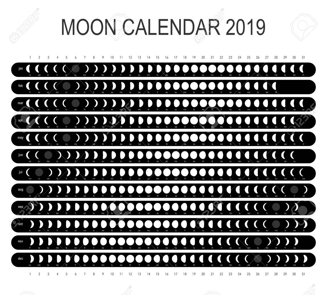 Moon Calendar 2019 Royalty Free Cliparts, Vectors, And Stock Calendar 2019 Lunar