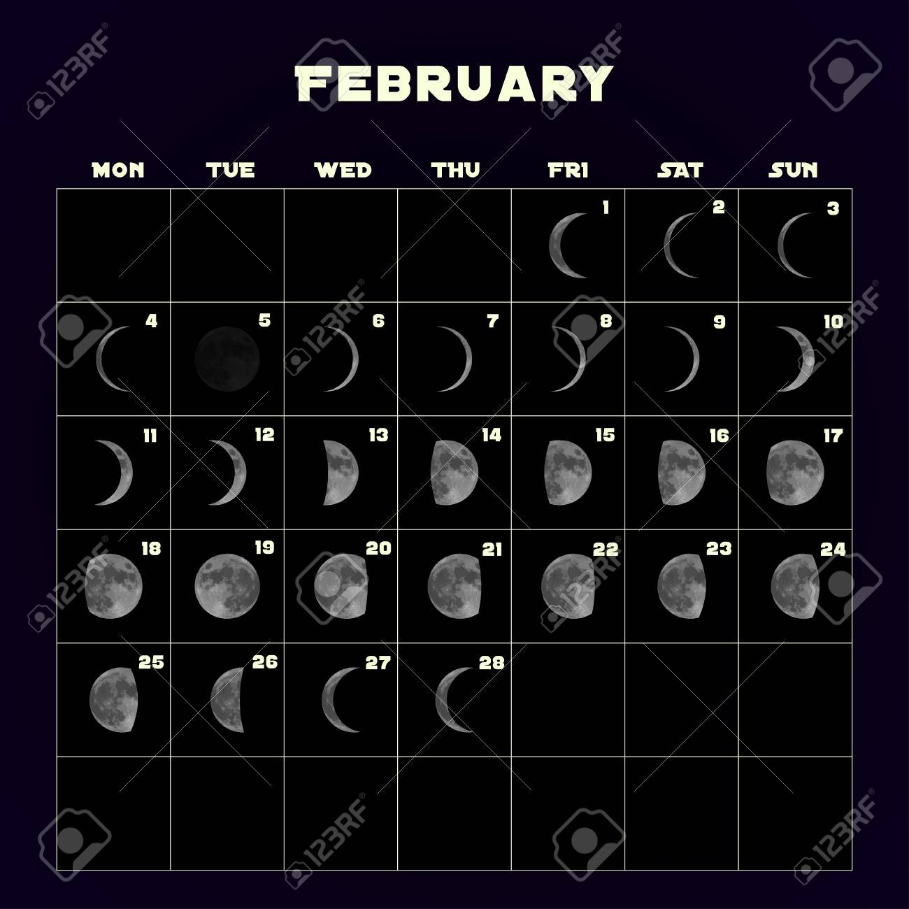 Moon Phases Calendar For 2019 With Realistic Moon. February Stock Calendar 2019 With Moon Phases