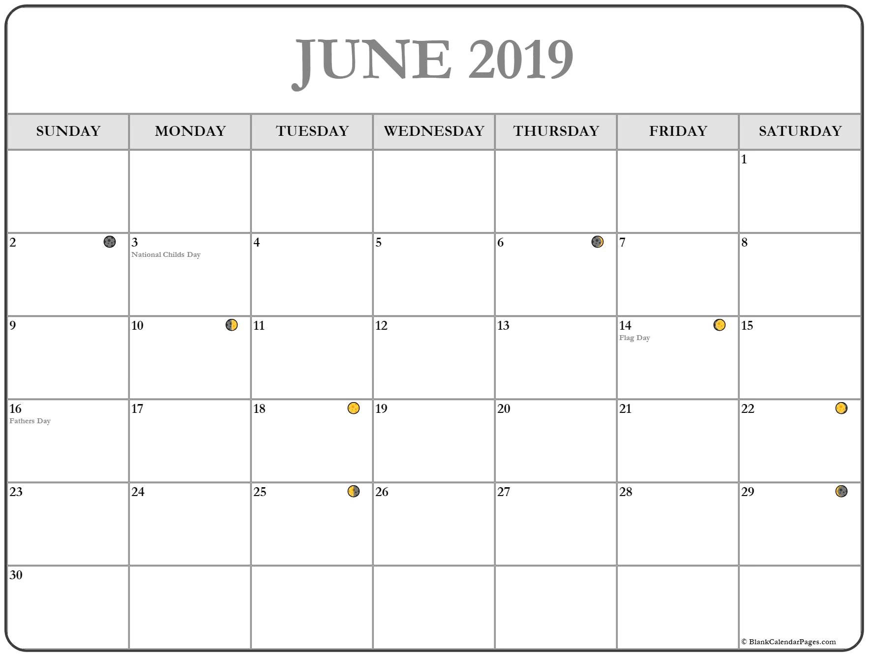 Moon Phases June 2019 Calendar Printable - Free Printable Calendar Calendar 2019 With Moon Phases
