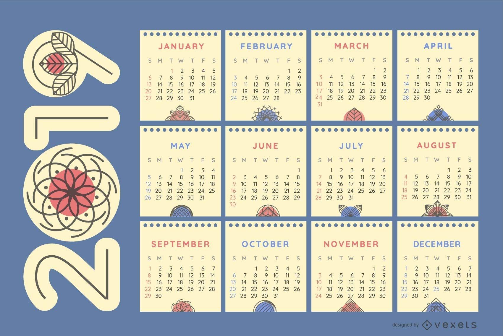 Nature Ornaments 2019 Calendar - Vector Download Calendar 2019 Nature