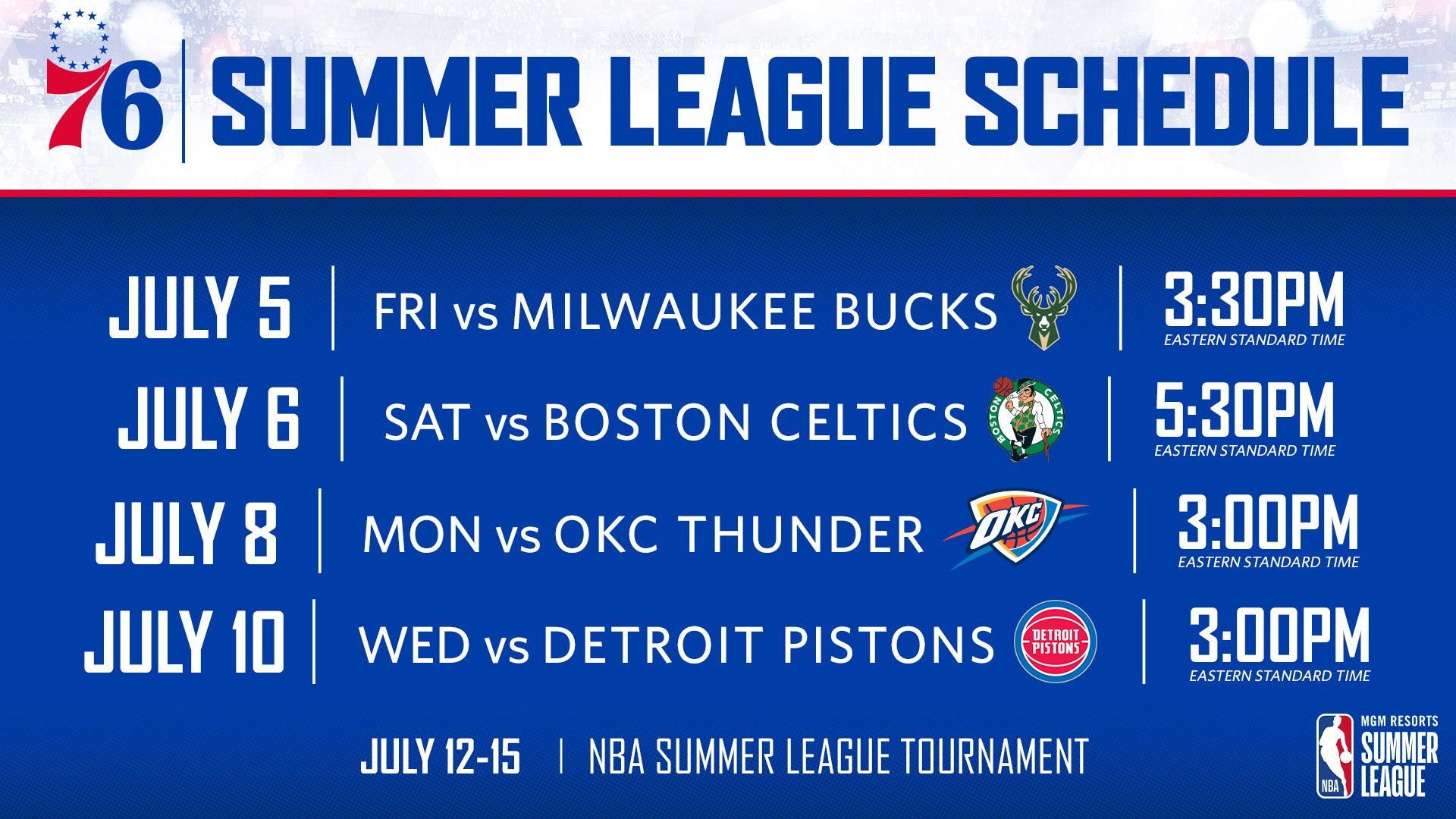 Nba Announces Schedule For 2019 Summer League   Philadelphia 76Ers 76Ers Calendar 2019