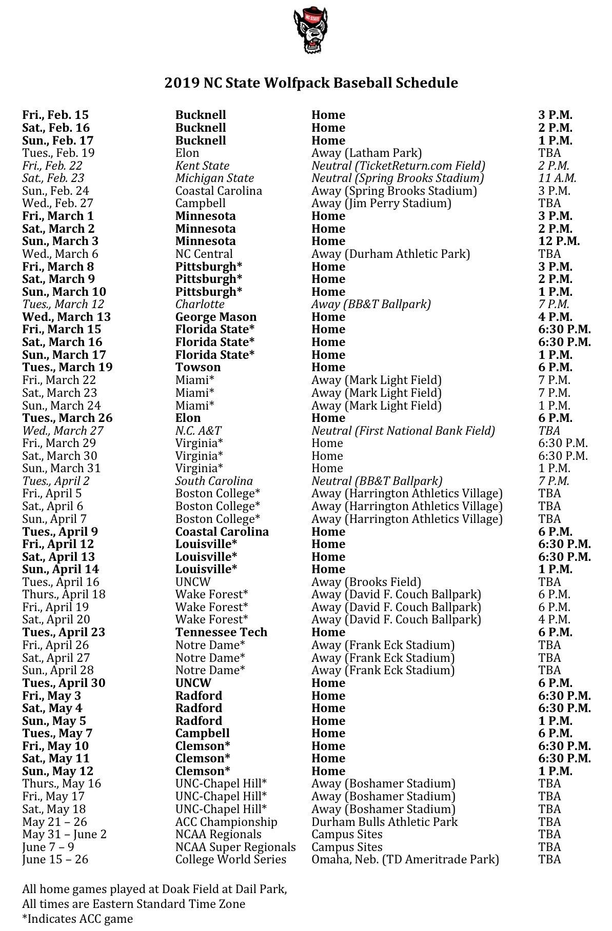 Nc State Releases 2019 Baseball Schedule - Pack Insider Calendar 2019 Ncsu