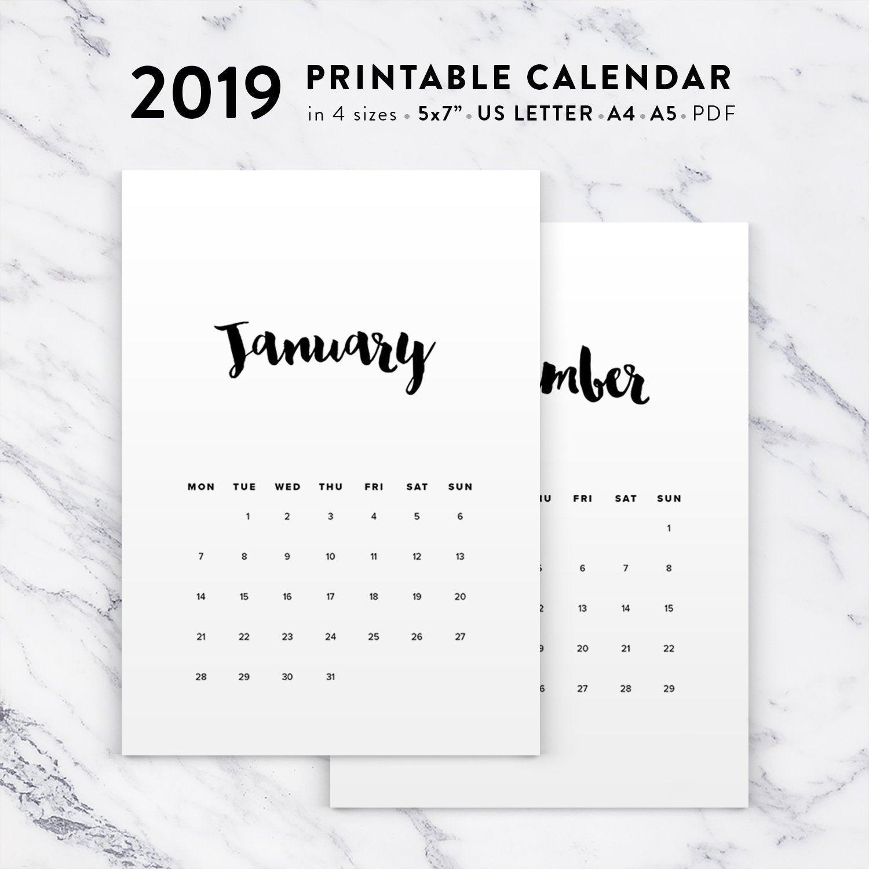 Norwegian Calendar 2019, Printable 2019 Calendar, Calligraphy Calendar  Planner 2019 Pdf Calendar Printable Wall Calendar Instant Download Calendar 2019 Zu