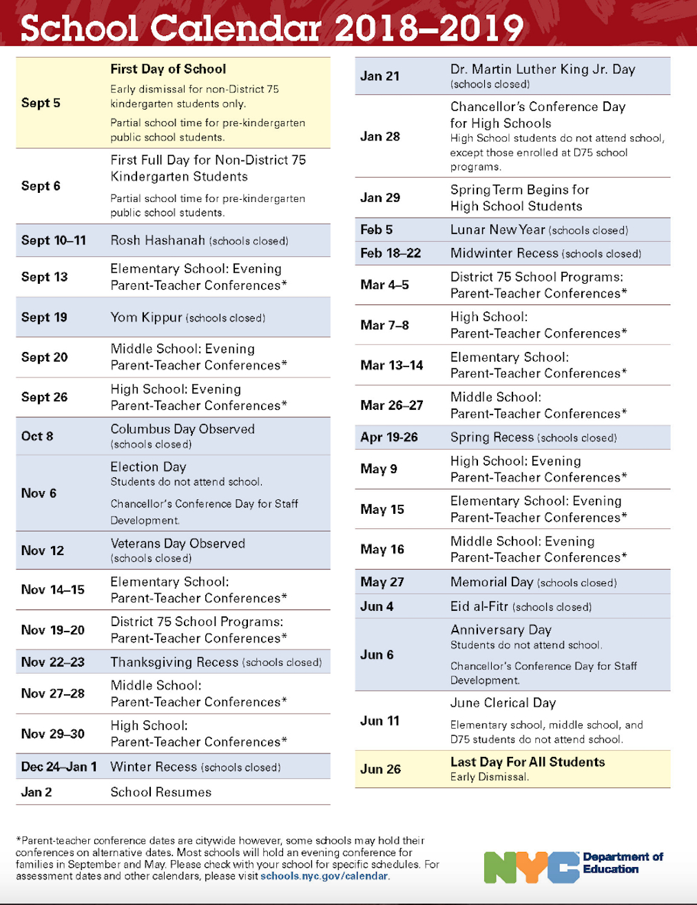 Nyc Doe 2018-2019 School Calendar | Ps 373R Robert Randall School Calendar 2019 Nyc