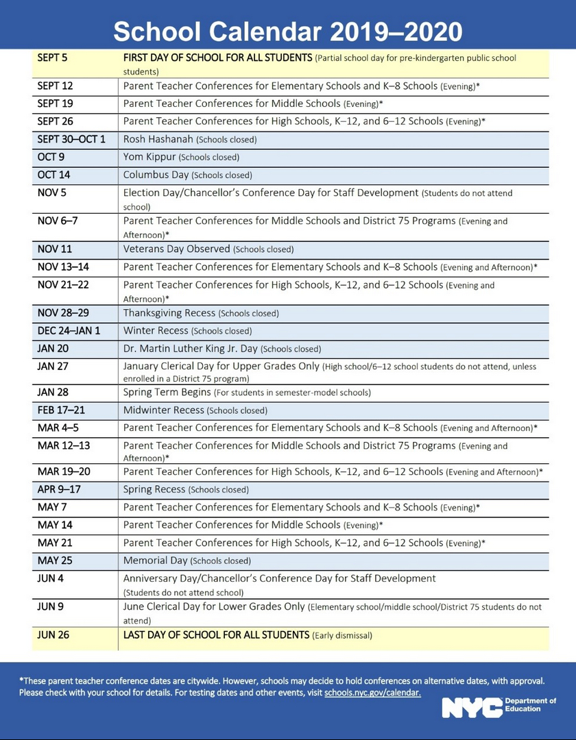 Nyc Doe 2019-2020 School Calendar | Ps 373R Robert Randall School Calendar 2019 Doe