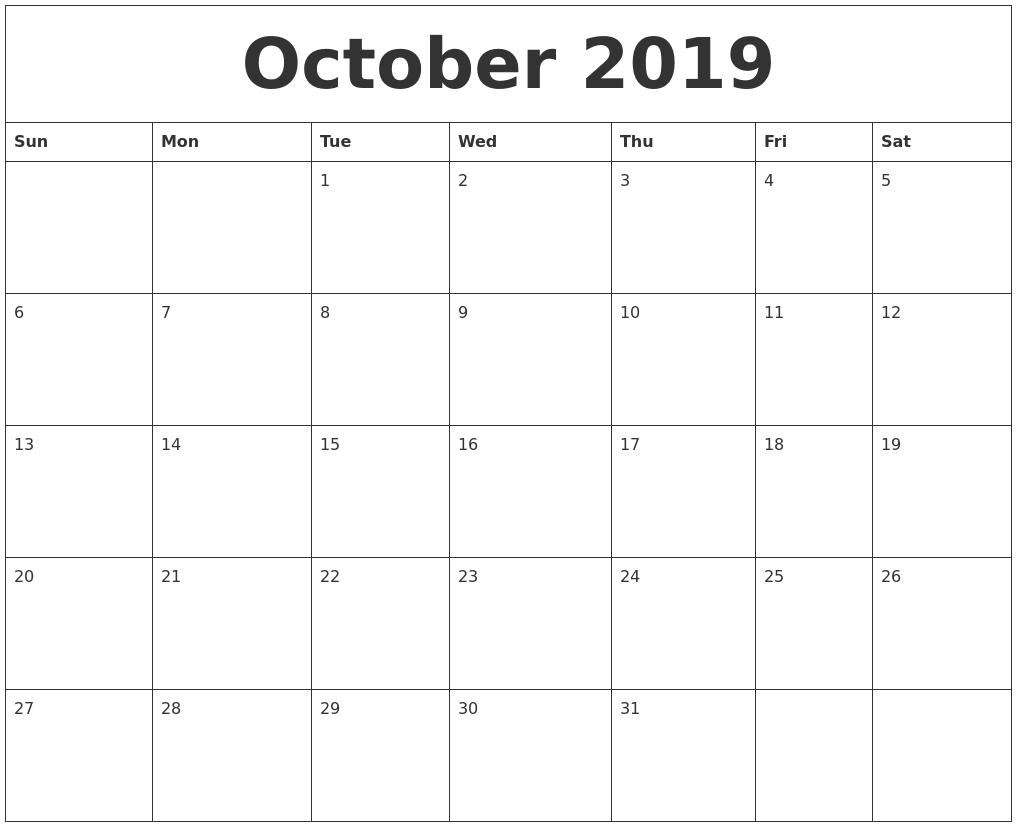 October 2019 Calendar Calendar 0Ct 2019
