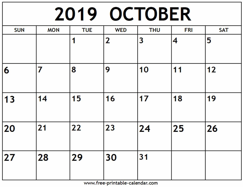 October 2019 Calendar - Free-Printable-Calendar Calendar 0Ct 2019