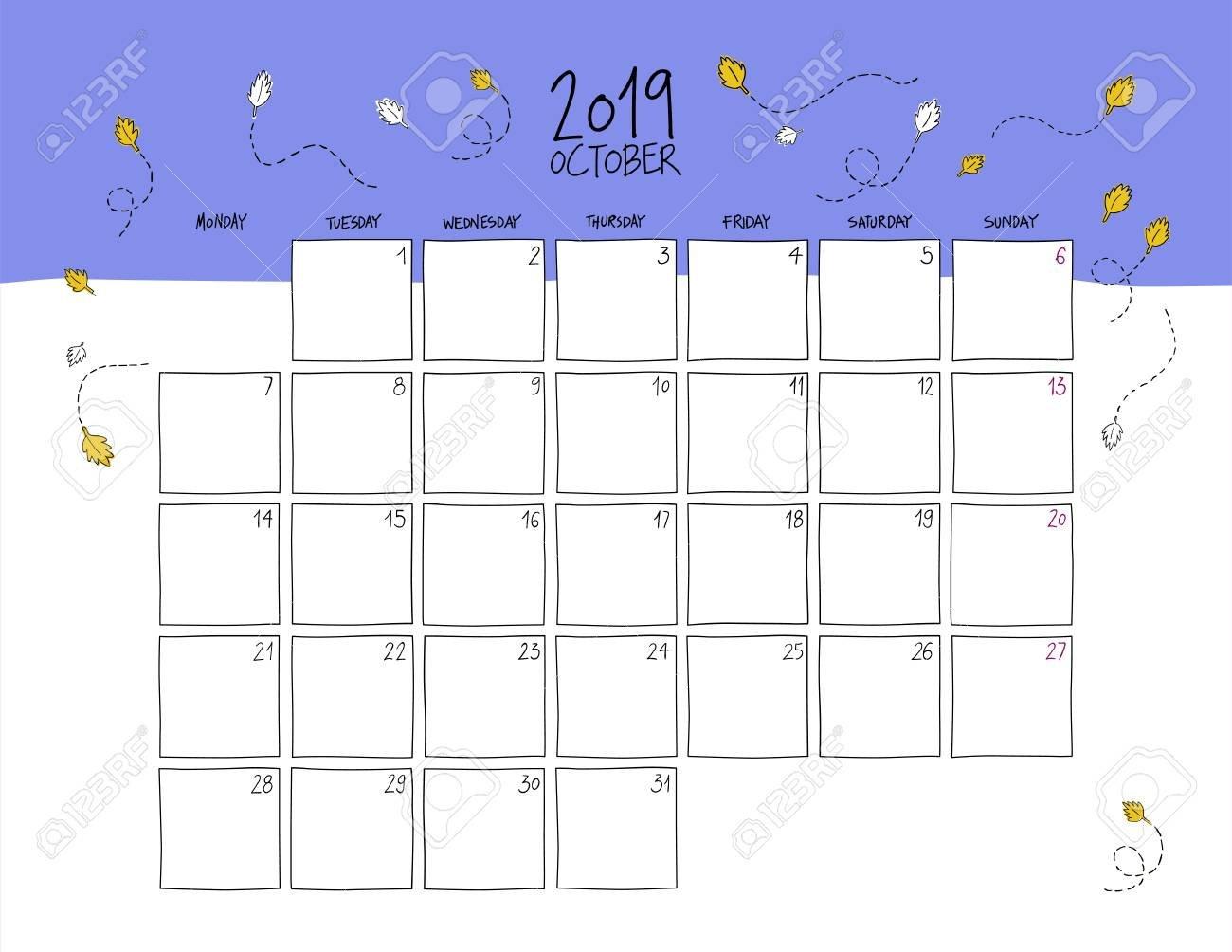 October 2019 Wall Calendar. Colorful Sketch Horizontal Template Calendar 2019 For Wall