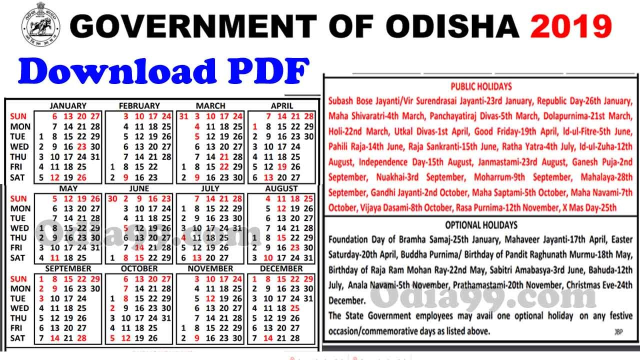 Odisha Govt Calendar 2019 With Holiday List Image High Quality Pdf Calendar 2019 Government Holidays