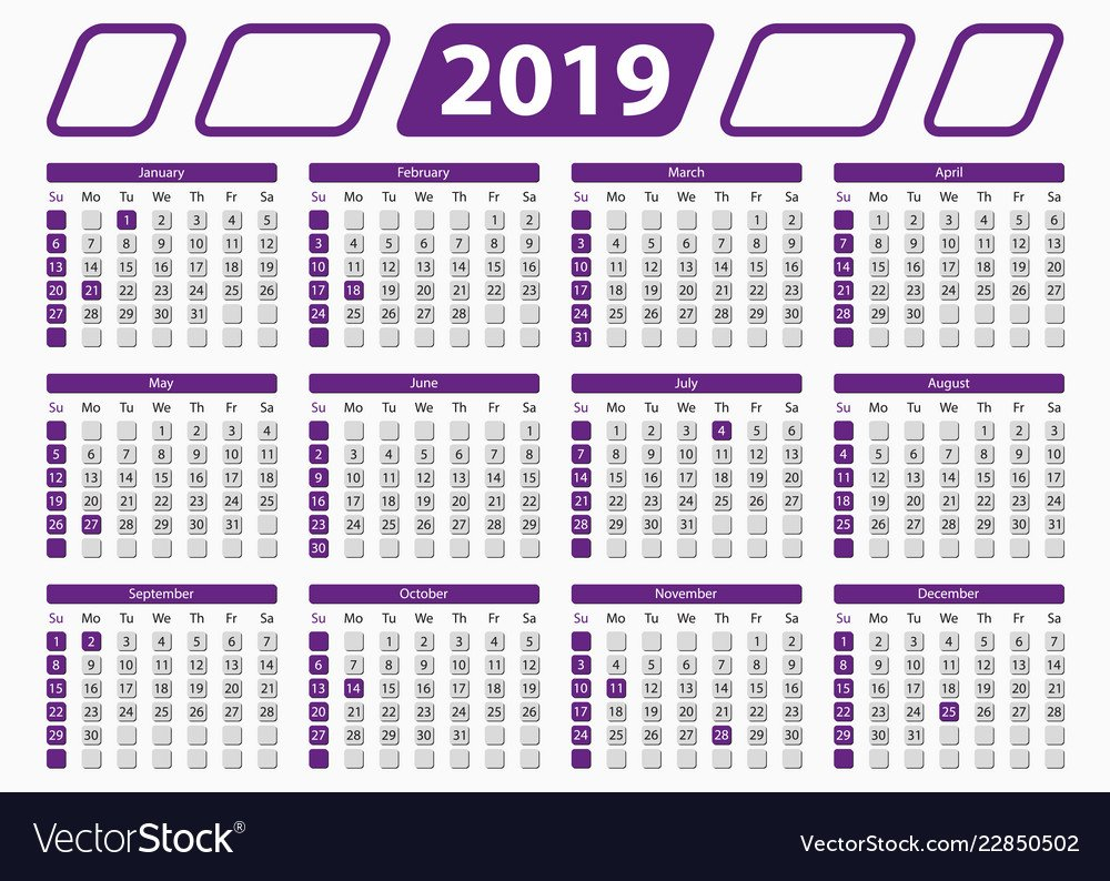 Official, Calendar & 2019 Vector Images (12) 5 X 7 2019 Calendar