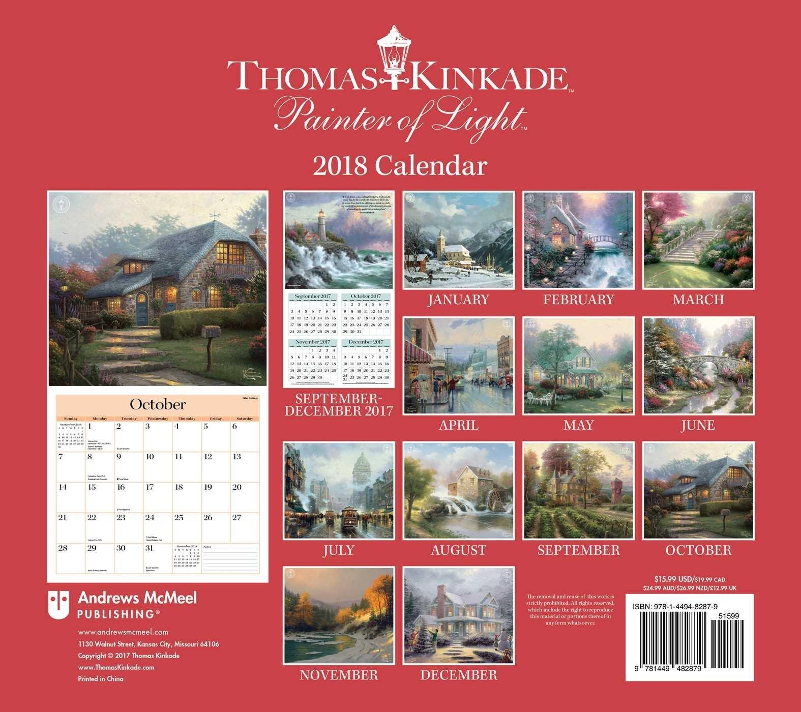 Official Thomas Kinkade Painter Of Light 2018 Deluxe Wall Calendar Calendar 2019 Thomas Kinkade