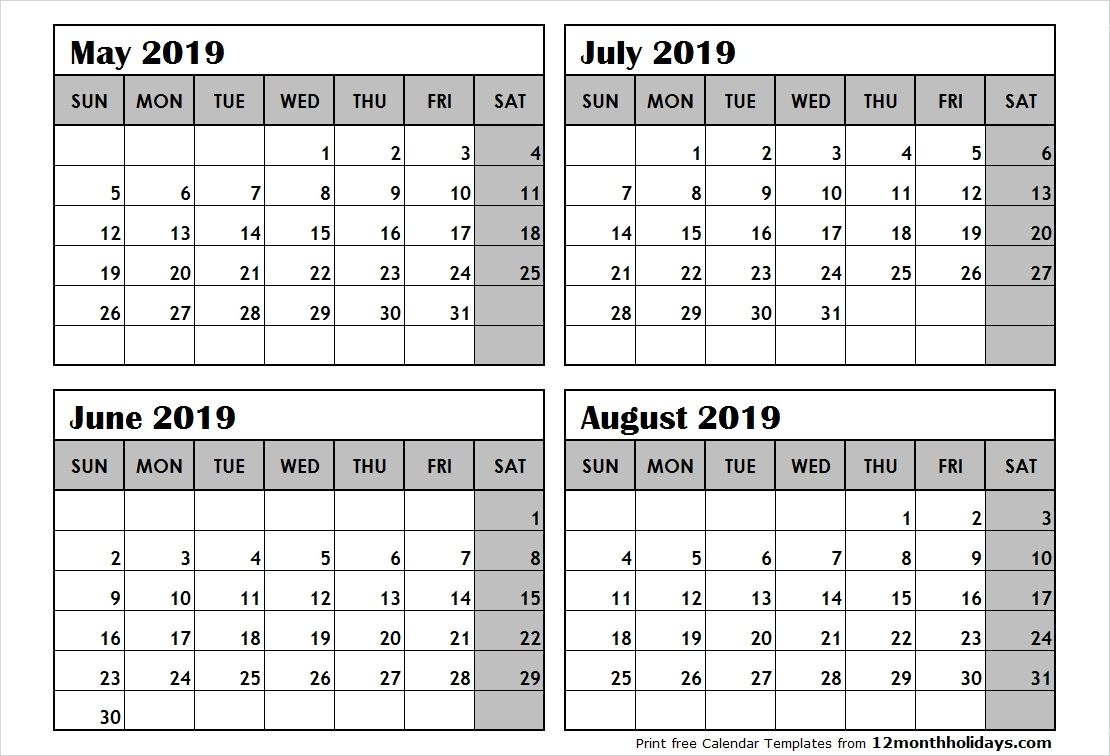 Optimum Four Months Per Page 2019 Calendar Printable June July Aug Calendar 2019 2 Months Per Page