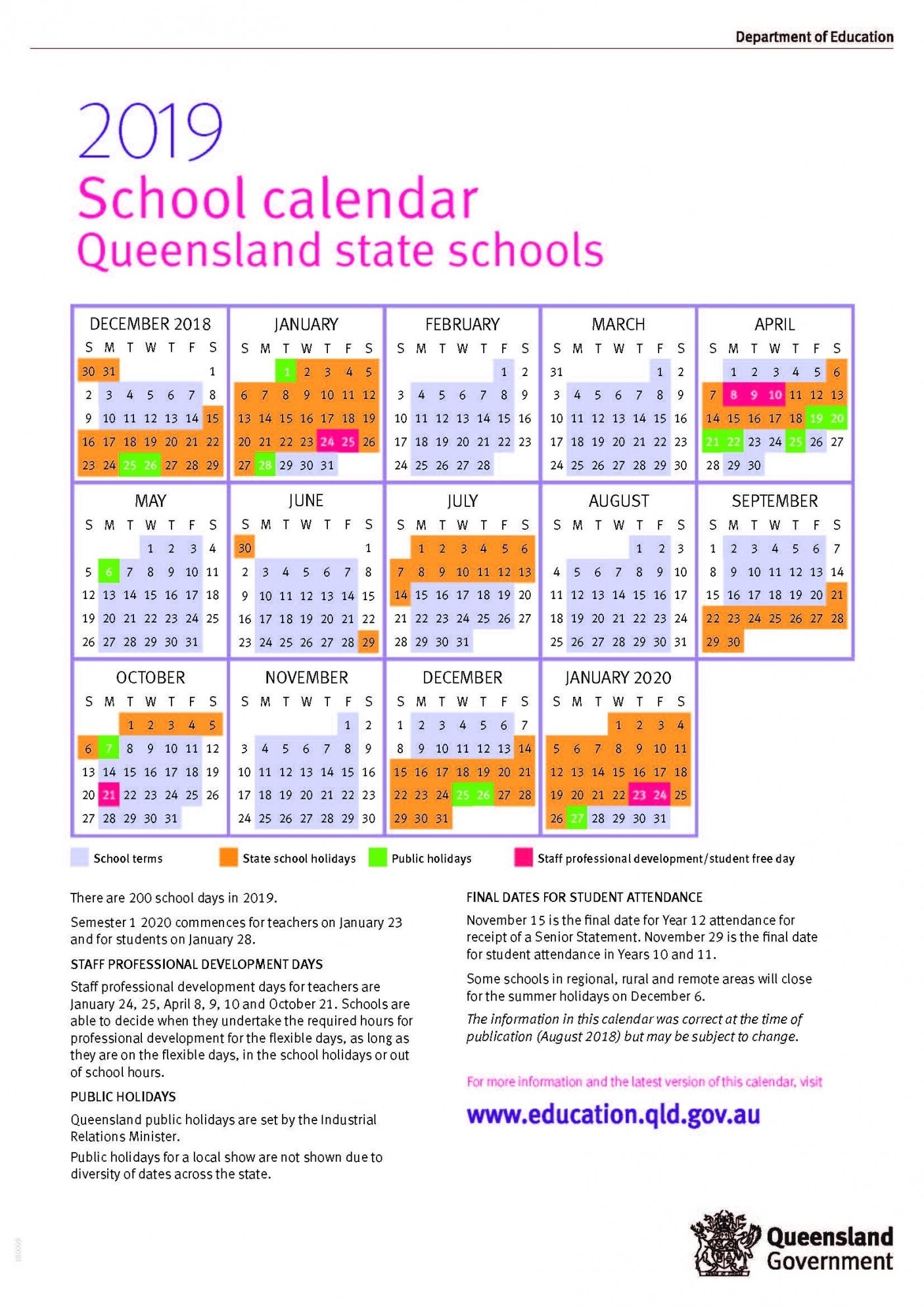 Perky 2019 Calendar Queensland State Schools • Printable Blank 2019 Calendar Queensland State Schools