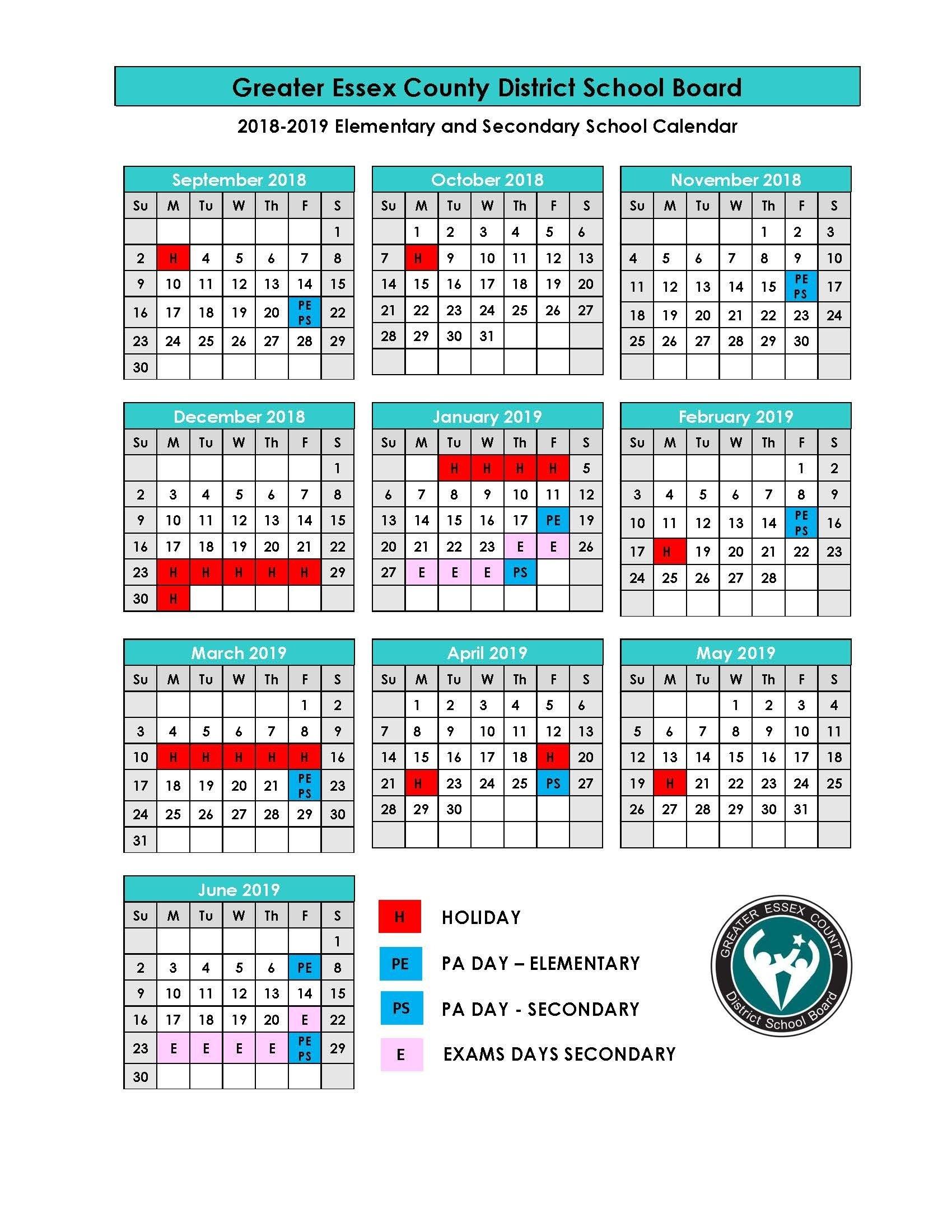 Perky School Calendar Ontario 2019-19 • Printable Blank Calendar Calendar 2019 Ontario