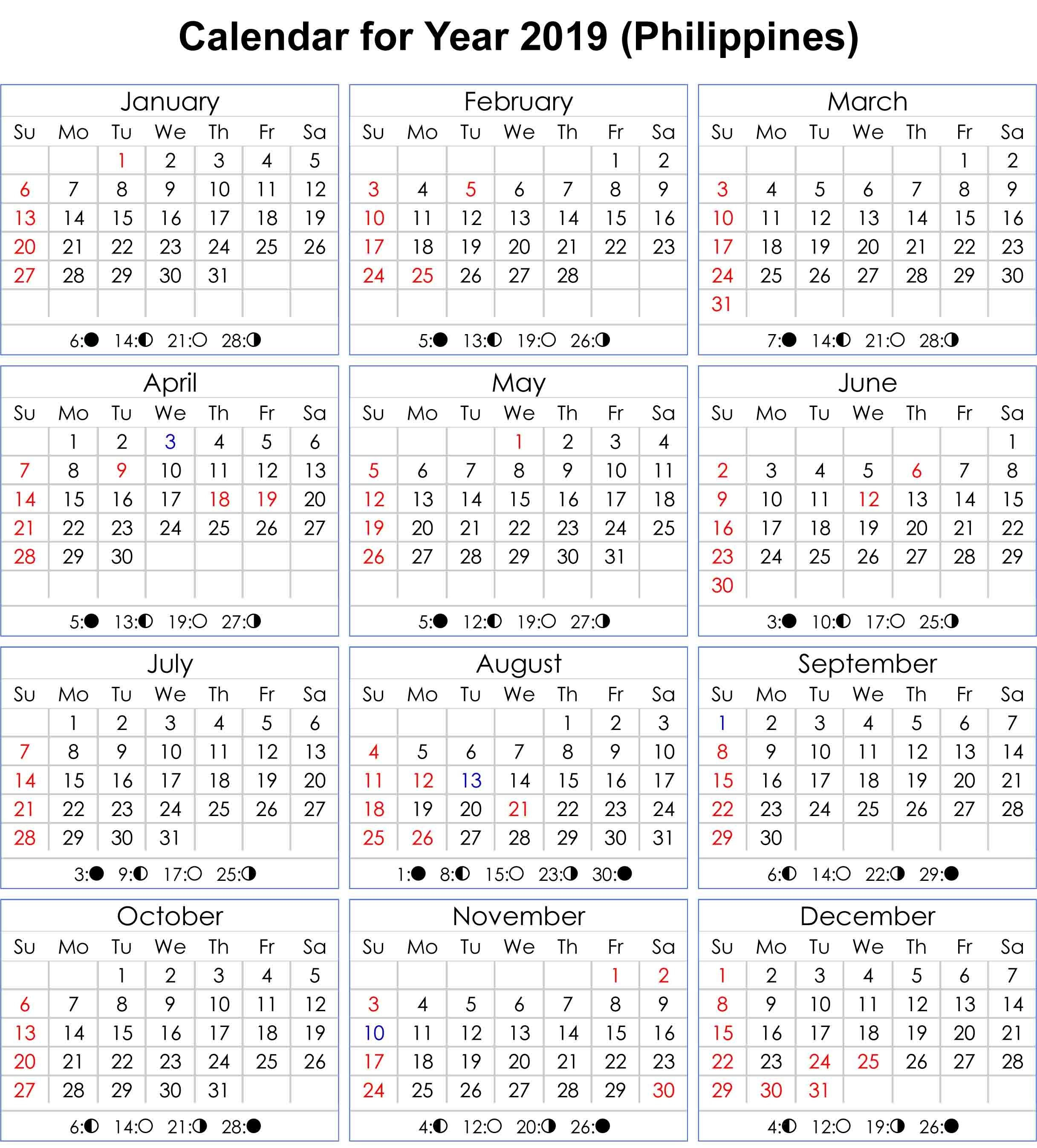 Philippines 2019 Calendar With Moon Phases | Calendar 2019 | 2019 Calendar 2019 With Moon Phases