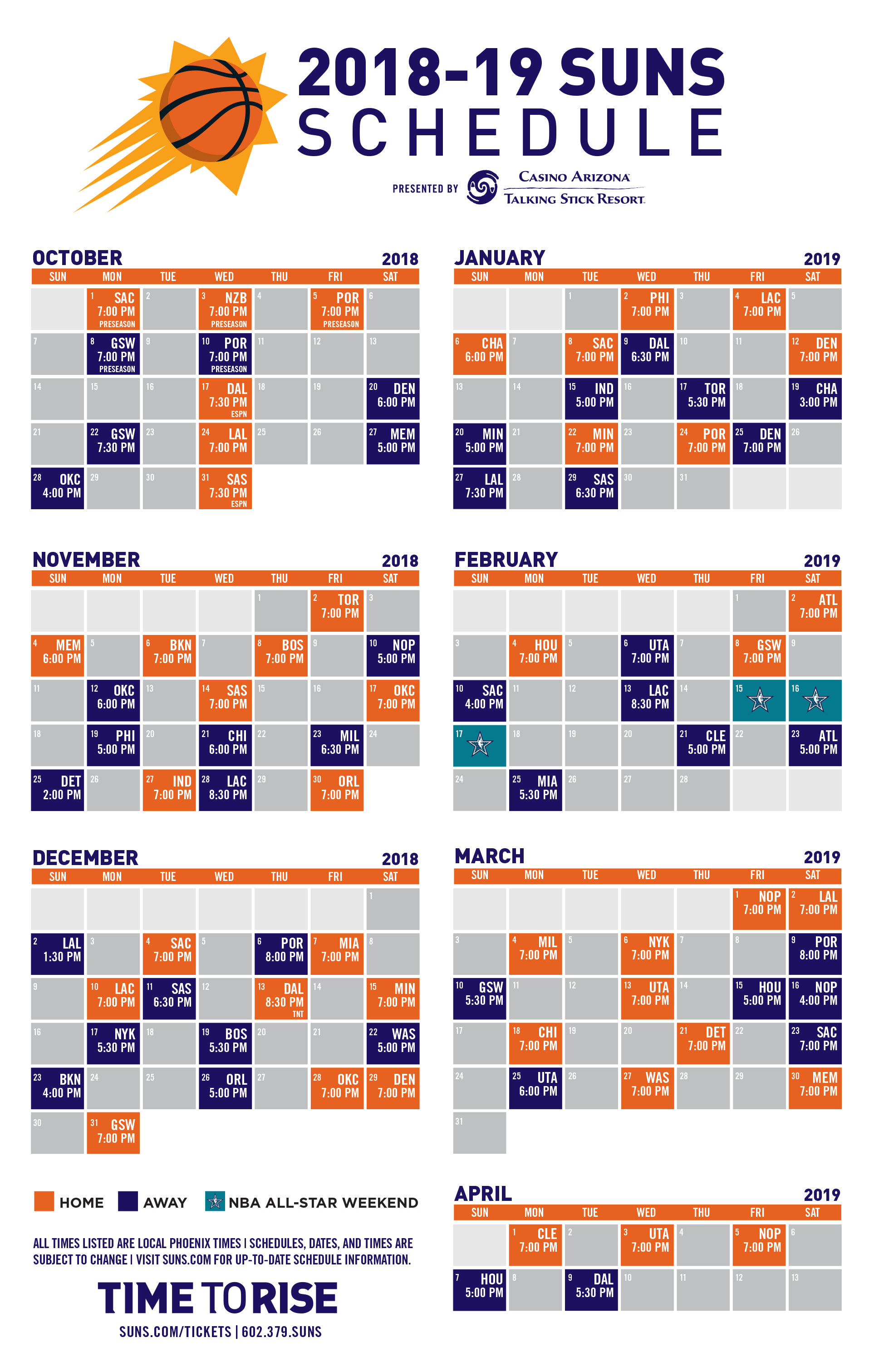 Phoenix Suns Announce 2018-19 Nba Season Schedule | Phoenix Suns 76Ers Calendar 2019