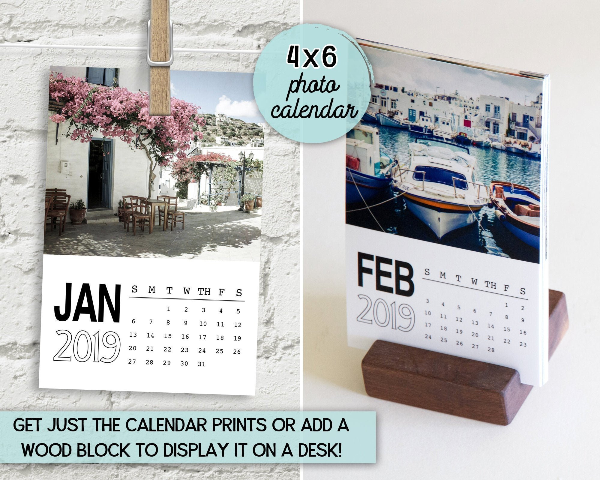 Photo Calendar 2019 4X6 Calendar Travel Photography | Etsy Calendar 2019 Travel