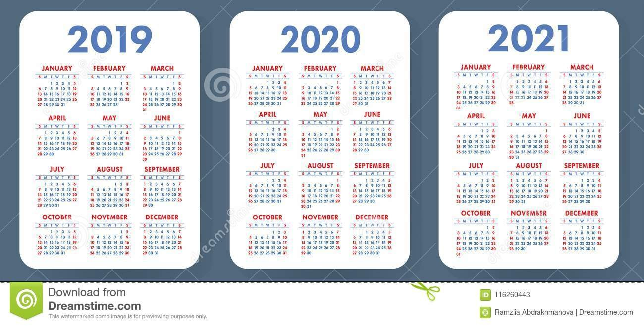 Pocket Calendar 2019, 2020, 2021 Set. Basic Simple Template. Wee 2 Year Pocket Calendar 2019 And 2020