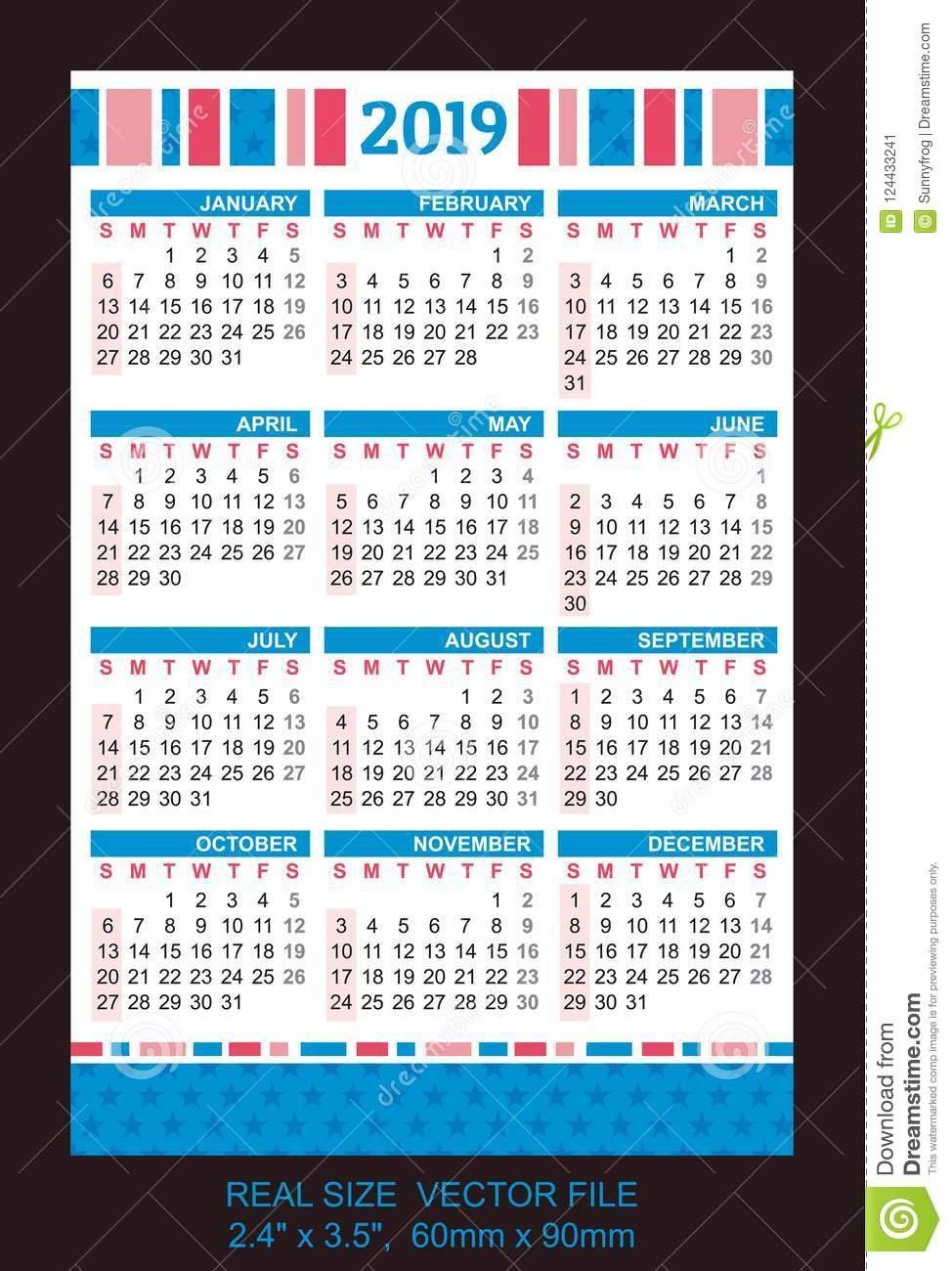 Pocket Calendar 2019, Start On Sunday, Vector Stock Vector Calendar X 2019