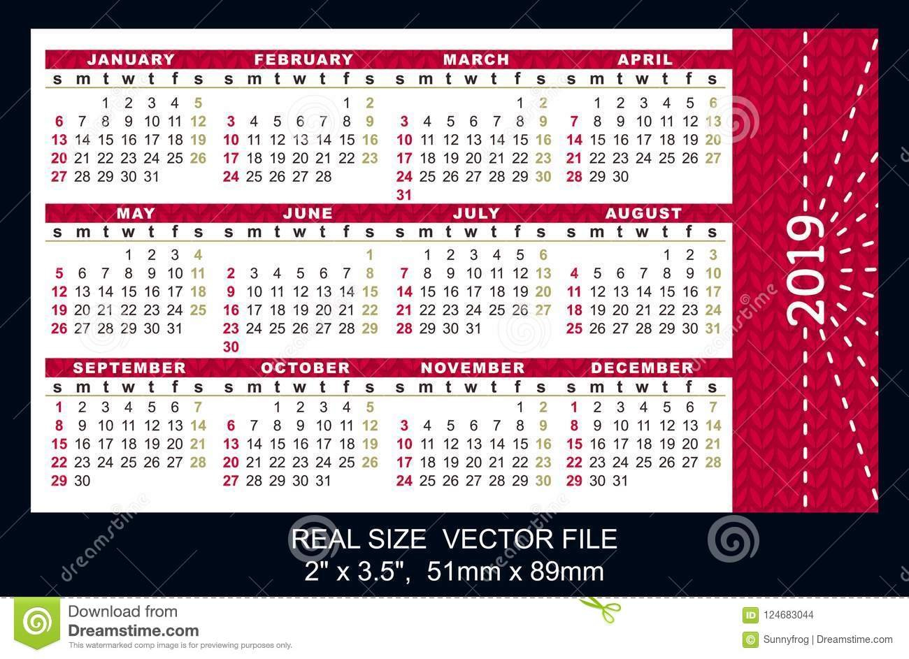 Pocket Calendar 2019, Start On Sunday, Vector Stock Vector X Calendar 2019 Download