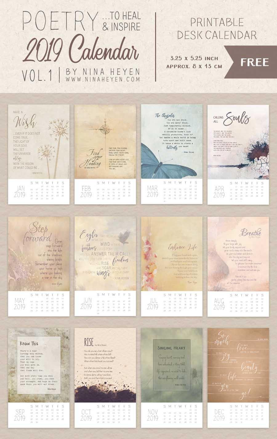 Poetry Calendars | Free Printable 2019 Desk & Wall Calendars | Nina Calendar 2019 Inspirational
