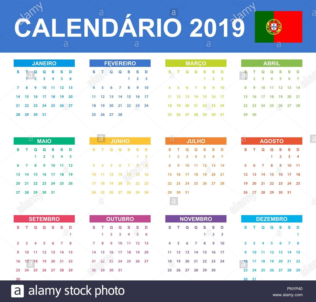 Portuguese Calendar For 2019. Scheduler, Agenda Or Diary Template Calendar Week 40 2019