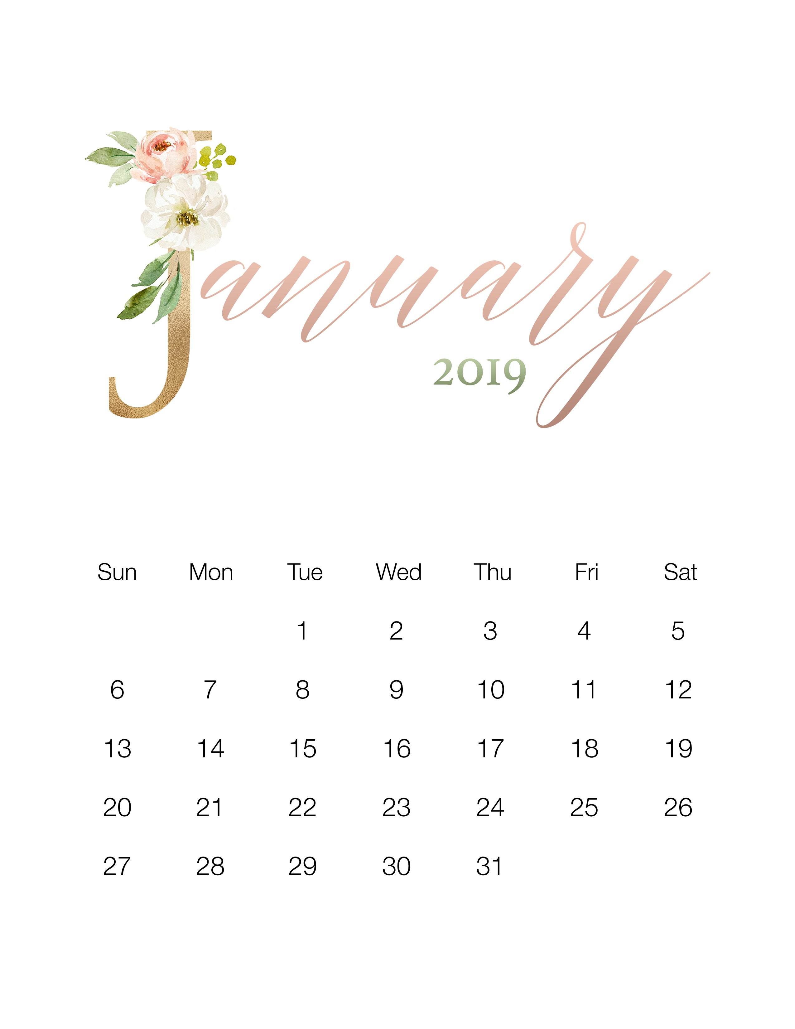 Pretty Floral Free Printable 2019 Calendar - The Cottage Market Calendar 2019 Pretty