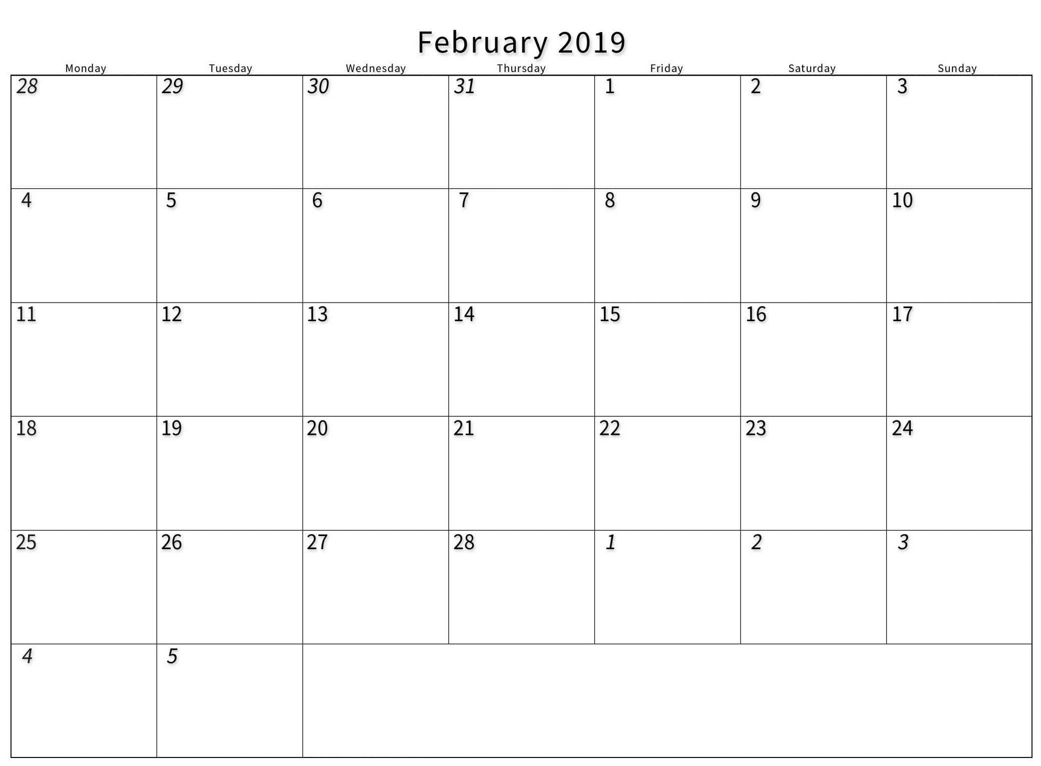 Print A Calendar February 2019 - 2019 Printable Calendar Store Print-A-Calendar 2019