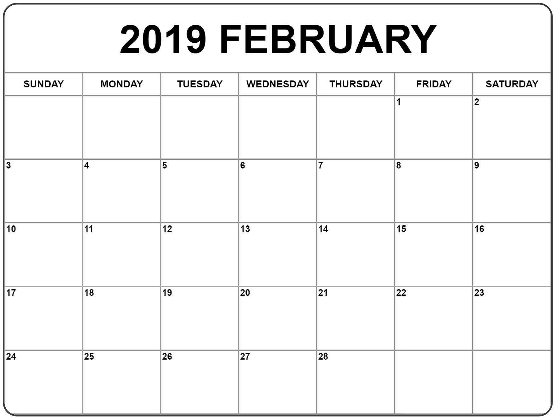 Print A Calendar February 2019 - Printable Calendar Templates Print-A-Calendar 2019