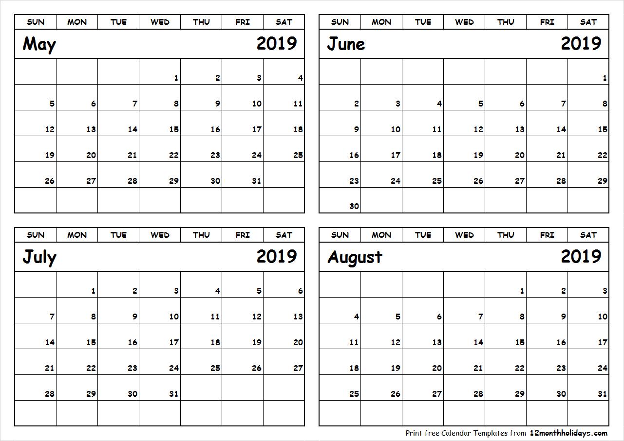 Print May To August 2019 Calendar Template   4 Month Calendar Calendar 2019 May June July