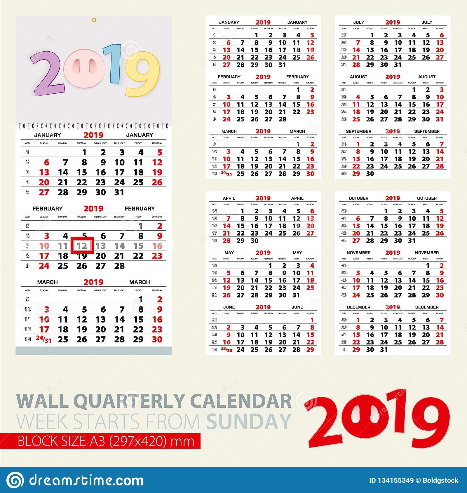 Print Template Of Wall Quarterly Calendar For 2019 Year. Year Of The Calendar Week 43 2019