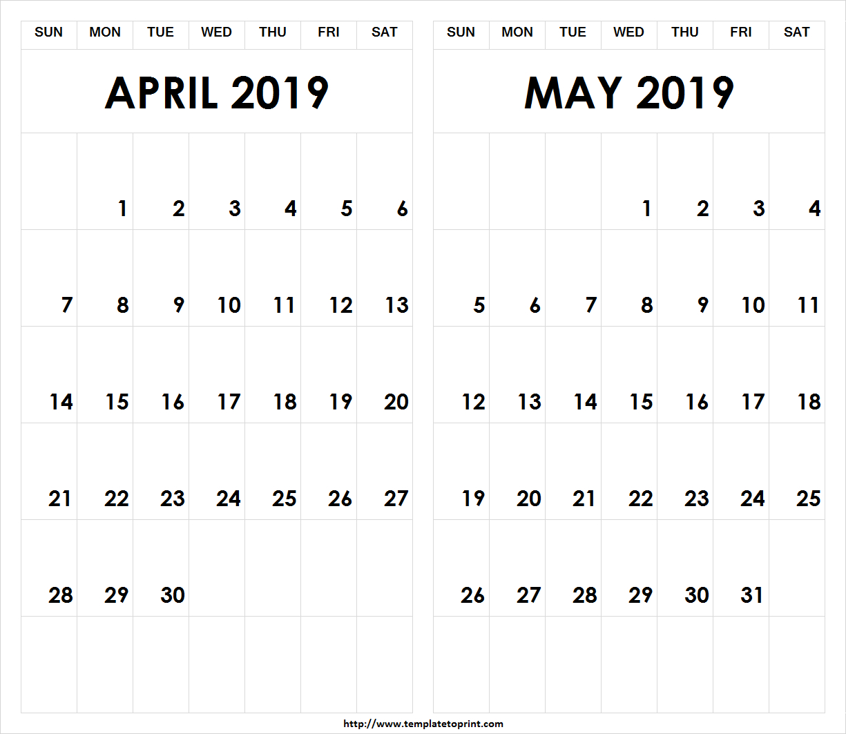 Printable-2019-April-May-Calendar » Template To Print Calendar 2019 April May