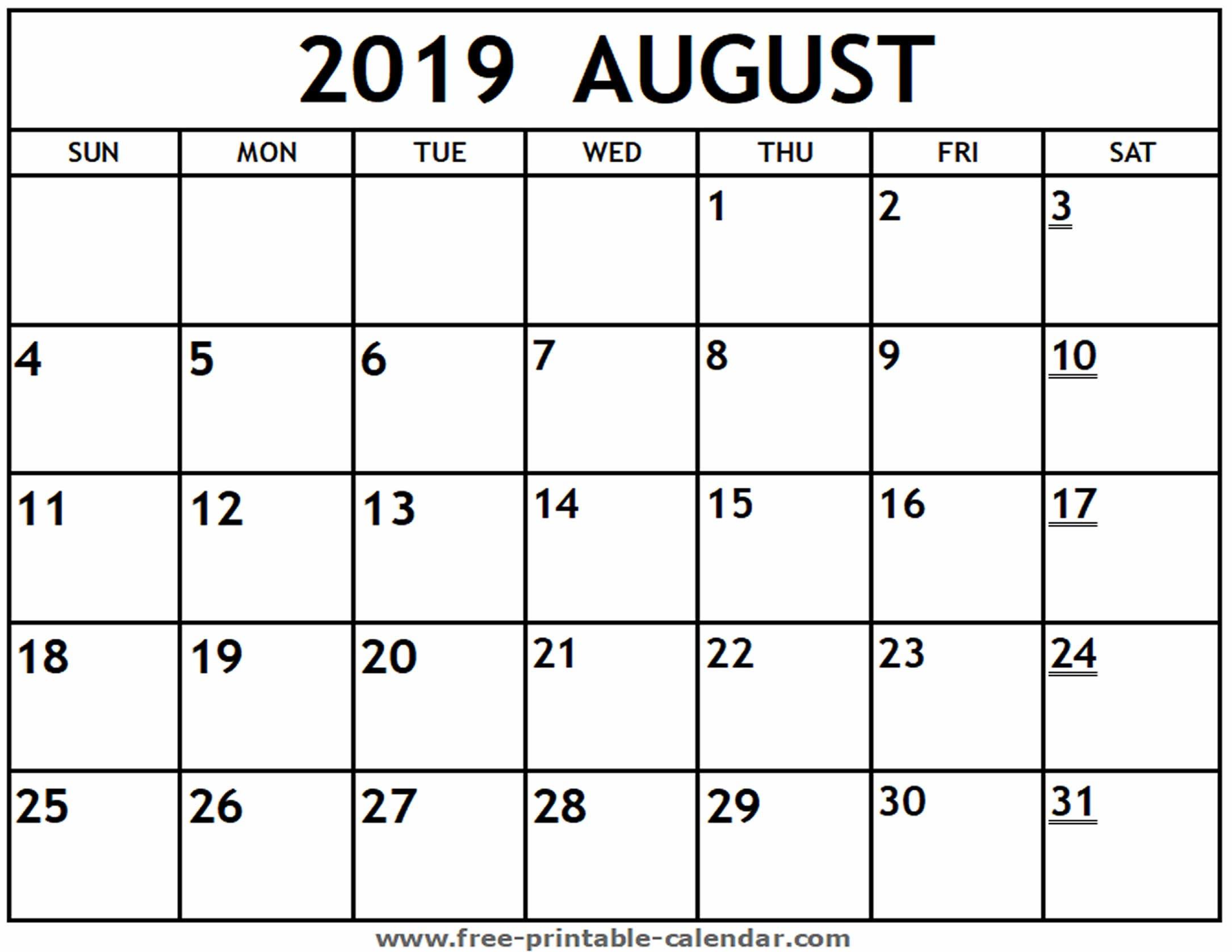 Printable 2019 August Calendar - Free-Printable-Calendar Calendar 2019 August