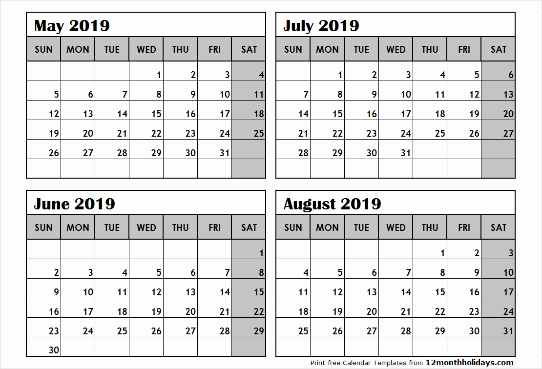 Printable 2019 Calendar 6 Months Free Printable 2019 4 Months Per 2019 Calendar 6 Months Per Page