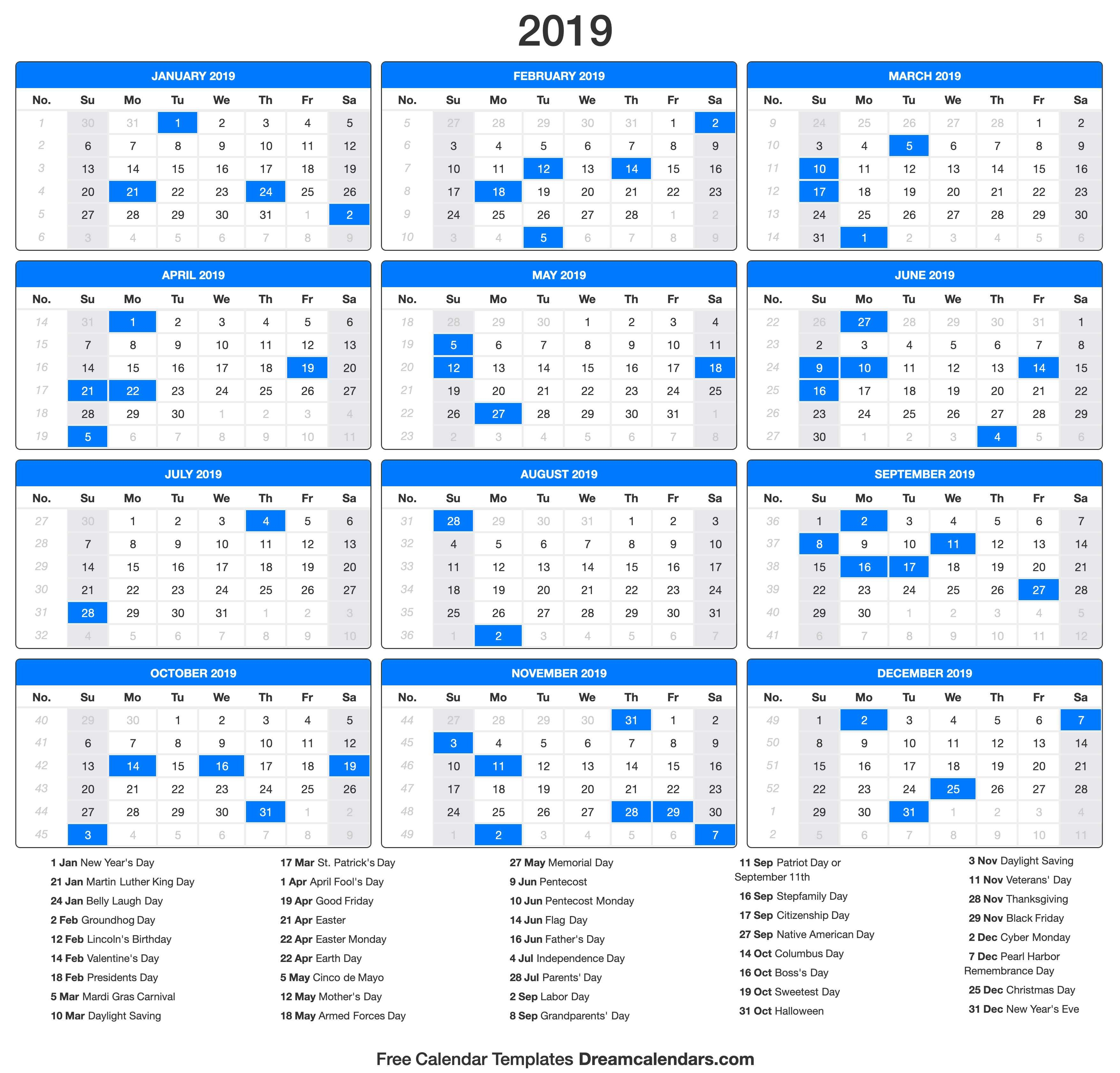 Printable 2019 Calendar - Dream Calendars Calendar 2019 Presidents Day