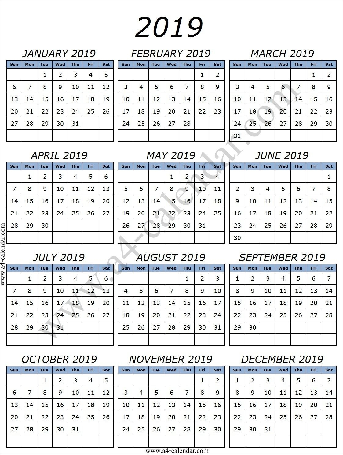 Printable 2019 Calendarmonth With Lines | Printable Calendar Calendar 2019 With Lines