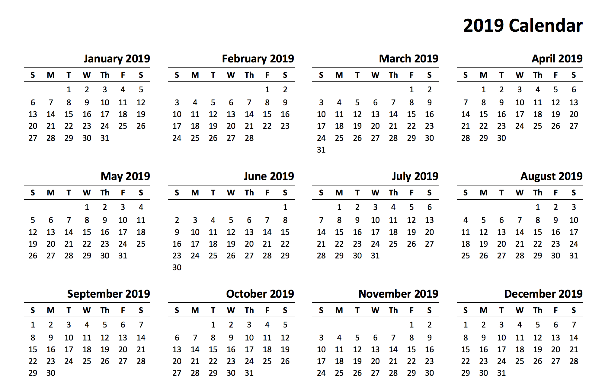 Printable 2019 Calendaryear | Printable Calendar 2019 Calendar 2019 Online