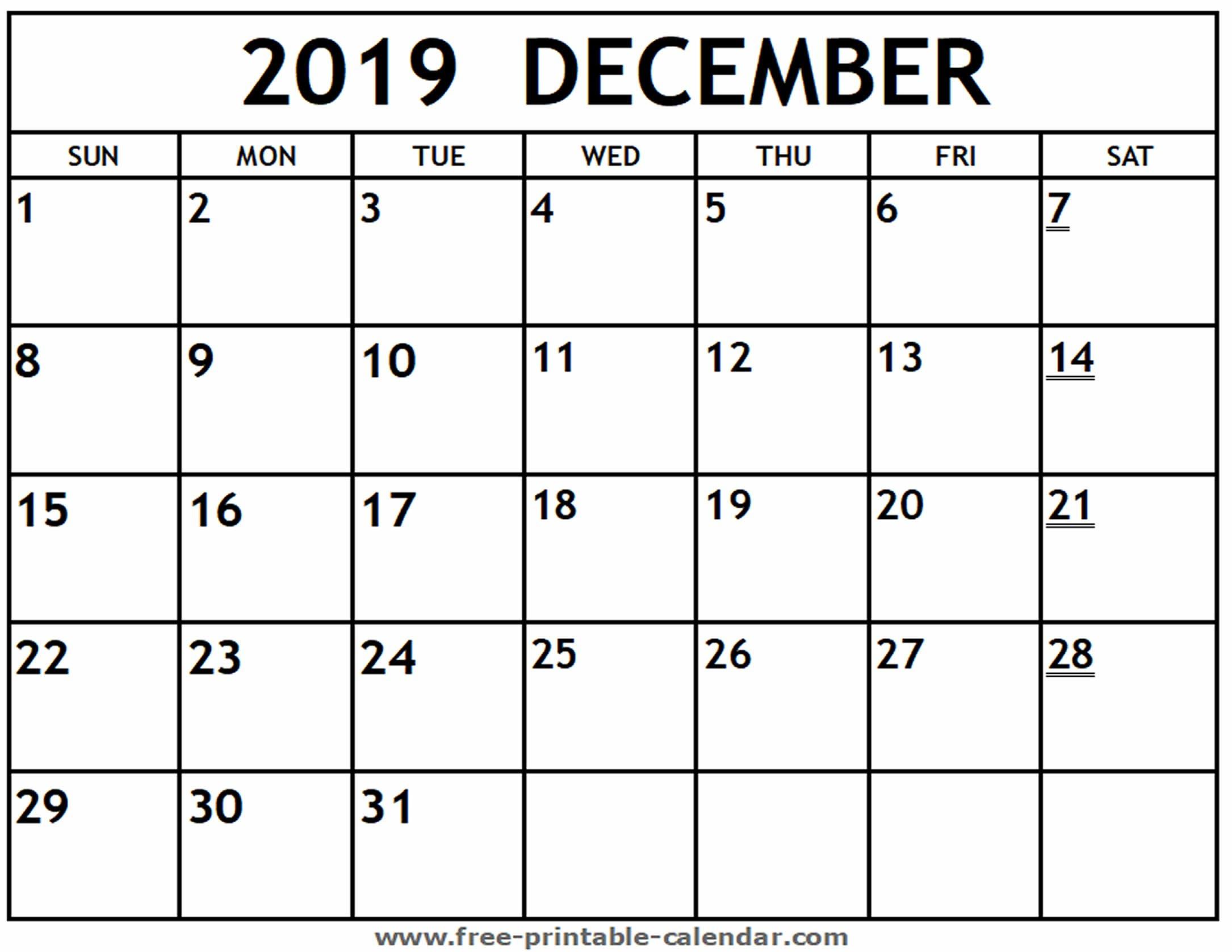 Printable 2019 December Calendar – Free-Printable-Calendar Calendar 2019 December Printable